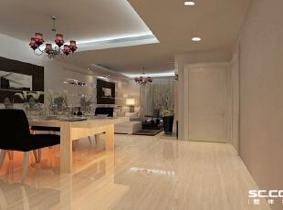 餐厅可容纳6人位餐台,大空间的基础上需要丰富家具的摆放空间,线槽的装饰餐厅背景墙装饰使空间更丰富,,98平,7万,现代,两居,