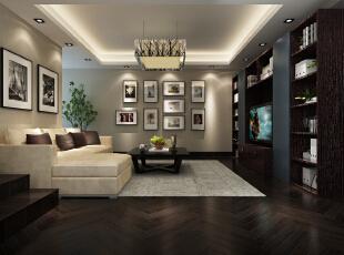 设计方案中运用了深**的,亚业烤漆深灰蓝,黑叶桉色的地板。,120平,24万,现代,三居,黑白,客厅,