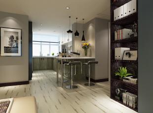 地板,超喜欢~开放式的厨房配上小吧台!喜欢的调调~,140平,28万,现代,三居,
