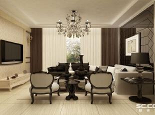 简约却不简单,这种装饰风格稳重、大气、而又不落于俗套。在注重客厅实用性的同时还追求精致和个性,洋溢着典雅与时尚的生活气息,符合现代人的生活品位。 亮点:沙发背景简单的装饰画及墙面的颜色,切角黑镜,简单,稳重,大气。,96平,7万,欧式,两居,