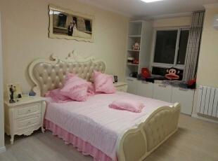 主卧室,还是有点公主情节的,120平,20万,现代,三居,卧室,粉色,