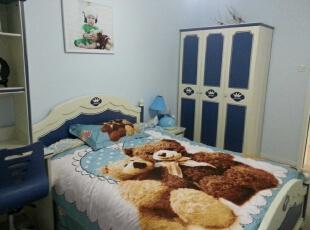儿童房,超爱墙面的淡蓝色~,120平,20万,现代,三居,卧室,蓝色,
