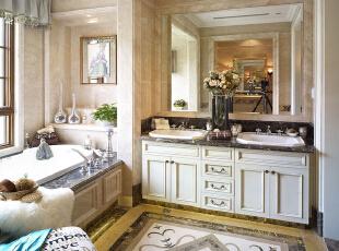 紫禁尚品国际装饰—卫生间 米黄西米石材的搭配仍显示了空间的品味,简约而不简单,充满了温馨的情调,地面石材的拼贴处理,恰到好处的划分了功能区域,体现了人性化的特色。,378平,67万,欧式,别墅,卫生间,白色,黑白,蓝色,黄色,