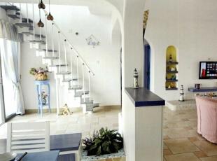 ,130平,5万,地中海,三居,客厅,白色,