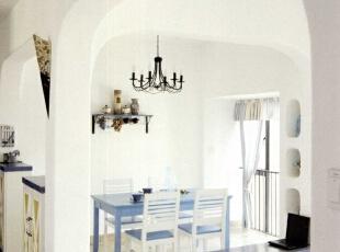 ,130平,5万,地中海,三居,餐厅,蓝色,