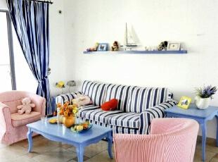 ,130平,5万,地中海,三居,客厅,蓝色,