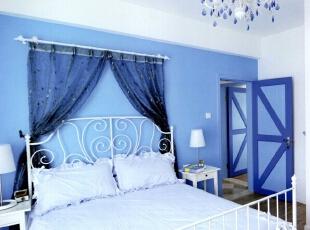 ,130平,5万,地中海,三居,卧室,蓝色,