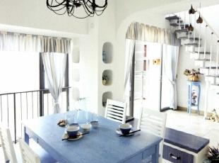 ,130平,5万,地中海,三居,蓝色,餐厅,