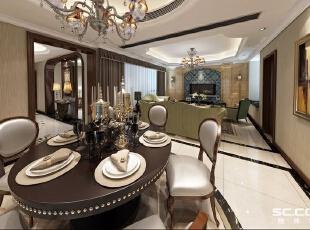 ,235平,42万,美式,别墅,餐厅,黑白,