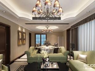 ,235平,42万,美式,别墅,客厅,绿色,