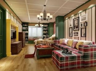,52平,3万,田园,两居,客厅,原木色,