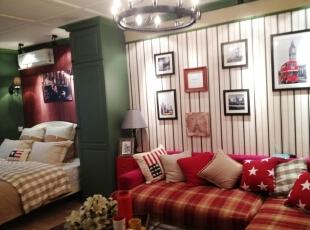 ,52平,3万,田园,两居,客厅,红色,