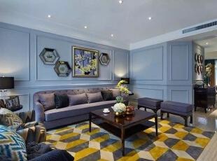 ,156平,223万,新古典,四居,客厅,蓝色,