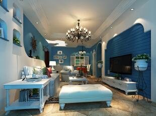 主要是色调搭配和弧度的线型运用,108平,13万,地中海,三居,客厅,蓝色,白色,