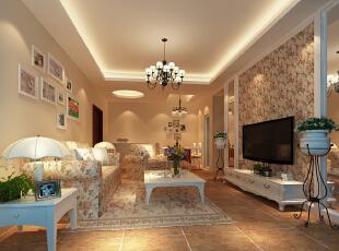 暖色温馨韩式设计,105平,12万,韩式,三居,黄色,客厅,