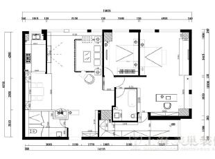 上都国际180平米三室两厅装修案例户型图及平面布局方案,180平,18万,美式,三居,