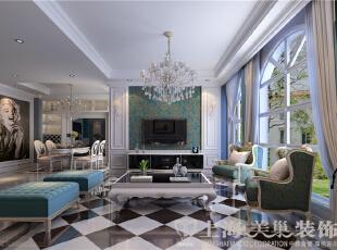 """上都国际180平米三室两厅美式乡村装修案例效果图-客餐厅正面,黑白灰色调为主,天蓝色点缀,""""失色""""的空间同样可以拥有活力。经典的美式沙发椅,使人忍不住想要休憩,茶余饭后,温暖的阳光,柔软的沙发,180平,18万,美式,三居,黑白,客厅,"""