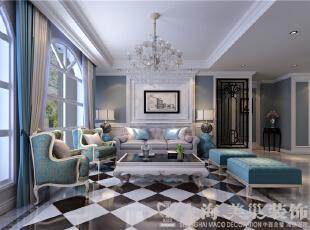 上都国际180平3室2厅美式乡村装修样板间效果图-客厅反面,沙发背景墙整体色调以蓝色为主配以白色石材,使整个空间更加干净,同时又增添了一分浪漫温情。,180平,18万,美式,三居,客厅,黑白,