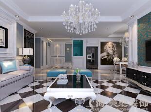 上都国际三室两厅美式乡村装修效果图-入口衣帽柜及玄关,蓝色偏灰的墙面,为空间提供了更加丰富的层次感,木质线条装饰的柜子,实用又不失美观。蓝色玻璃的玄关,通透且增加了空间的私密性。,180平,18万,美式,三居,客厅,黑白,