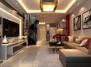 客厅设计地面采用45度菱形斜铺增加地面的灵动性,看起来不会单调刻板。开放式的厨房和客厅的贯通使整体空间倍增,同时厨房的采光问题也得以解决。厨房的吧台运用大红色来点缀使整个空间色彩看起来明亮、大方,给人以开放、宽容的非凡气度,让人丝毫不感局促。,142平,12万,简约,三居,客厅,黑白,