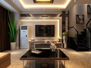 客厅的设计电视背景墙采用凹凸板造型搭配简洁石膏板,简单大方。顶面做石膏板吊顶,里面暗藏灯带,配以茶色玻璃灯,时尚个性。 楼梯风格的设计,以黑色为主配钢化玻璃简化了线条都给人一丝不苟的印象。,142平,12万,简约,三居,客厅,黑白,