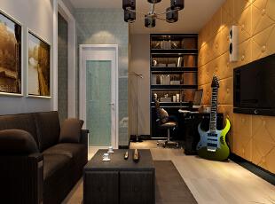 """休闲区的设计时尚的黑、灰、白为主色,金色做点缀,电视背景墙用音响来装饰,现代感十足。拥有环绕立体的音响效果,实现了""""KTV家庭化""""。,142平,12万,简约,三居,客厅,黑白,"""