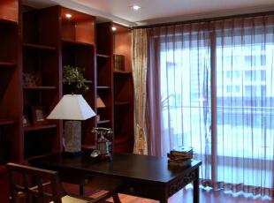 ,150平,25万,中式,三居,实创装饰,新中式,红木家具,实木家具,书房,原木色,