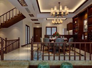 ,450平,55万,中式,别墅,餐厅,原木色,