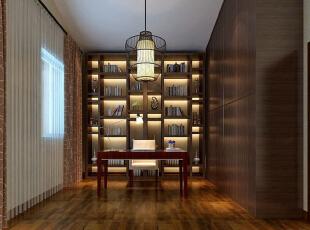 ,450平,55万,中式,别墅,书房,原木色,