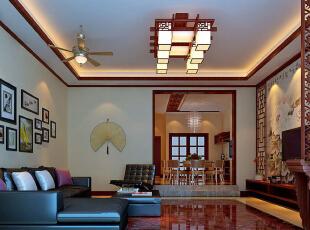 ,350平,40万,中式,别墅,客厅,原木色,