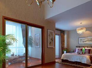 ,350平,40万,中式,别墅,卧室,原木色,