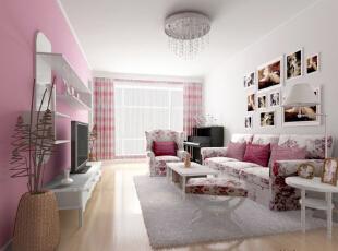 ,90平,11万,田园,两居,客厅,粉色,