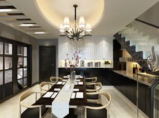 六人的家庭餐桌,搭配椭圆的天花造型,相呼应!,230平,27万,现代,复式,餐厅,