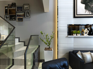 现代材质的运用,在材质上充分体现现代设计风格,230平,27万,现代,复式,客厅,白色,原木色,黑白,