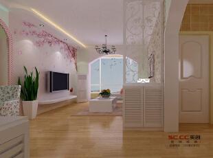 【南昌实创整体家装】田园风格客厅参考案例,田园,两居,餐厅,粉色,