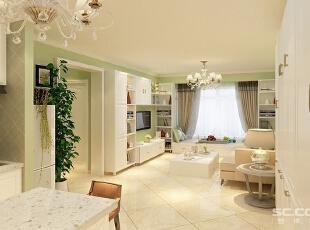 客厅设计: 客厅是全家活动的中心,是生活的重心所在,占据着重要的采光和观景面。客厅的色调以淡绿色为主,搭配多姿曲线的沙发,打造了奢华且宜居的空间。设计师将怀古的浪漫情怀与现代人对生活的需求相结合,充满了强烈的动感效果。,78平,7万,清新,两居,
