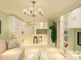 餐客厅设计: 本案的色调以白色和淡绿色为主,设计风格更趋于美式,同时融入了一些现代时尚的味道, 形成一种全新的视觉感受。好的设计要给人的生活带来便利,本案的成功之处在于将使用功能作了完美的发挥,让我们一起走进这所美家。,78平,7万,清新,两居,