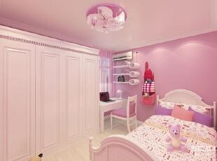 儿童房设计: 儿童房在色彩和空间搭配上以明亮、轻松、愉悦为选择方向,多了点对比色。一般女孩子喜欢温馨的淡粉色,78平,7万,清新,两居,