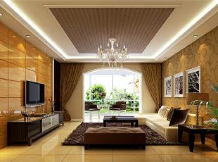 ,123平,11万,现代,三居,客厅,白黄,