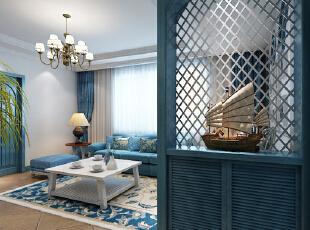 门厅是停留最短的空间,但是一个必不可少的区域也是一个展示的空间。 亮点:门厅采用一组蓝色通透鞋柜,隐隐约约透露出沙发与照片。,86平,9万,地中海,一居,客厅,蓝白,