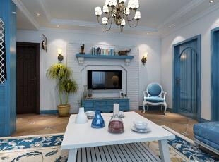 客厅的主要亮点是电视背景、照片墙。电视背景采用文化石刷白,配上顶部造型顶与石膏线,把整个电视背景墙的效果提升起来。沙发侧面的照片墙采用蓝、白色,突出照片墙的个性!,86平,9万,地中海,一居,客厅,蓝白,