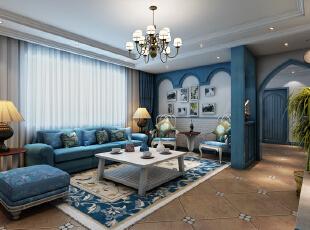 ,86平,9万,地中海,一居,客厅,蓝白,