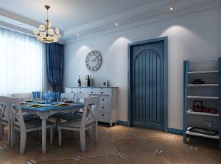 蓝白的软装、蓝白的家私、蓝白的墙面,加上顶部的铁艺吊灯,没有娇柔的造作,视似乎有些原始,但却是本色自然,无论是公共空间或是秘密区域,都遵循这样的装饰手法,装饰元素的不断呼应和延续令整个空间在变化中拥有统一的特质、温情无处不在。,86平,9万,地中海,一居,餐厅,蓝白,