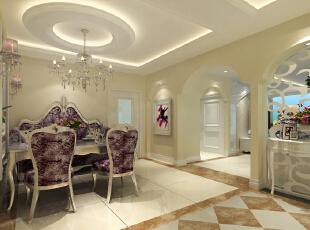 客厅设计: 设计理念:简洁的白色,典雅的咖色,神秘的紫色,简约大气的造型,打造欧式客厅。亮点:简约风格的电视背景墙采用与背景墙相同的咖色花纹样式,周边则采用了以白色云纹的大理石为材质的欧式拱形造型。,120平,10万,欧式,三居,