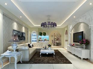 卧室设计: 设计理念:卧室作为业主休憩的场所,是身心放松的空间。浅色系的家具与蓝色配饰的结合,打造欧式格调。亮点:欧式柔软的大床配上带有欧式元素的拱形背景墙,欧式的气息呼之欲出。而在背景墙中,银色的花纹样式则彰显着奢华的韵味。,120平,10万,欧式,三居,
