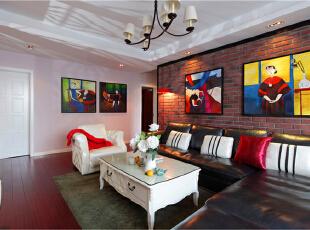 ,90平,新古典,三居,客厅,红白,