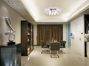 餐厅设计:黑色白色相应,简约舒适高贵之感,270平,30万,现代,三居,餐厅,黑白,