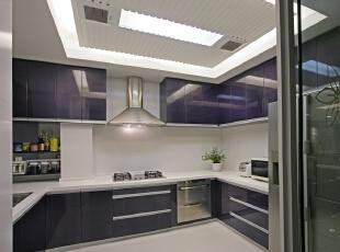 ,270平,30万,现代,三居,厨房,紫白,