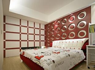 儿童房设计:以红白搭配,喜悦的空间与设计墙壁,设计空间更加充满欢乐,270平,30万,现代,三居,卧室,红白,