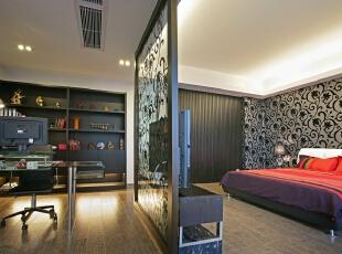卧室设计:业主喜欢在卧室办公学习,加以屏风另一半做书房,270平,30万,现代,三居,卧室,黑白,